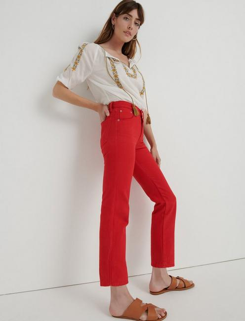 MID RISE AUTHENTIC STRAIGHT CROP JEAN, RED