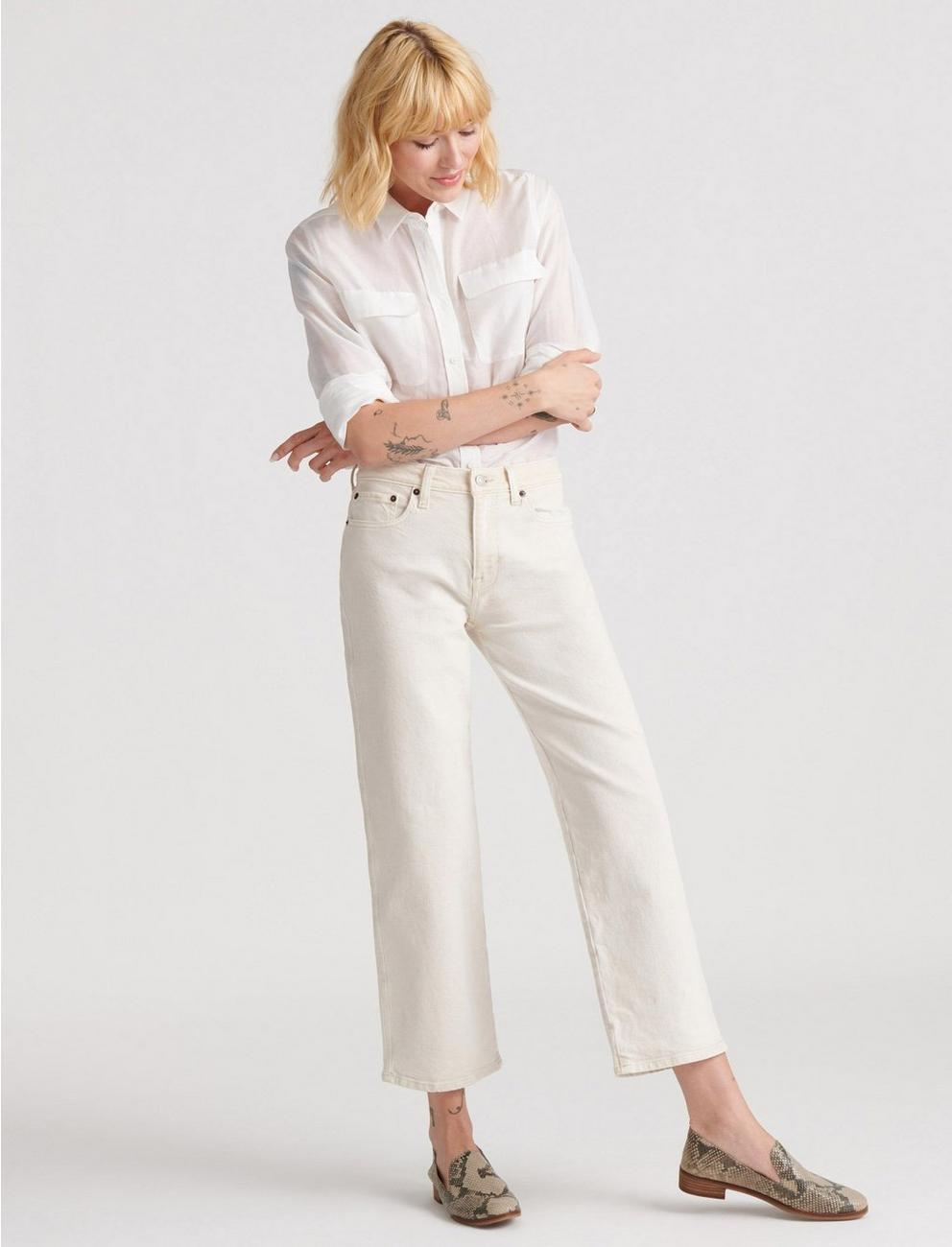 MID RISE CROP WIDE LEG JEAN, WARM WHITE
