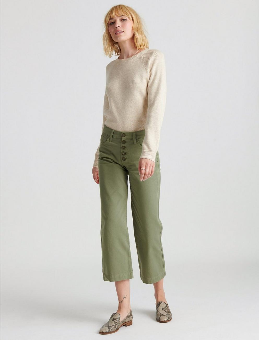 MID RISE CROP WIDE LEG JEAN, SOFT OLIVE