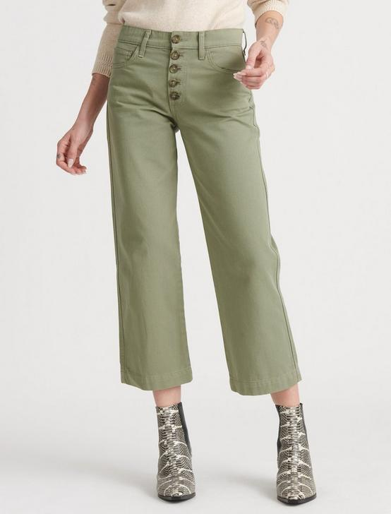 MID RISE CROP WIDE LEG JEAN, SOFT OLIVE, productTileDesktop
