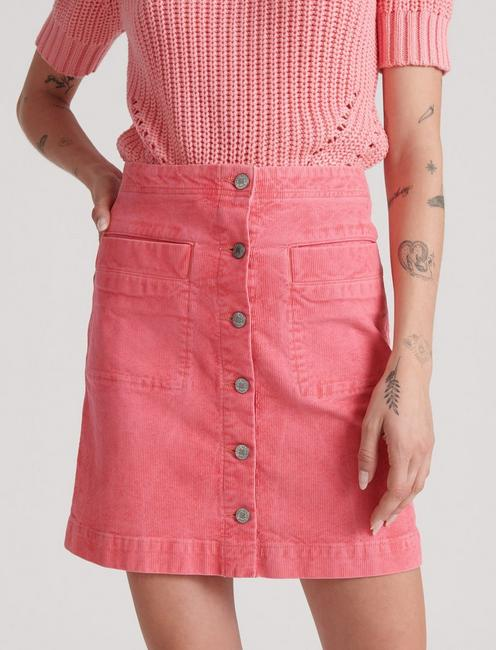 BUTTON FRONT MINI CORDUROY JEAN, TEA ROSE