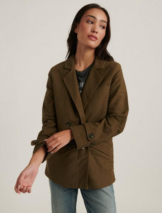 DOUBLE BREASTED UTILITY BLAZER, HUDSON GREEN, productTileDesktop