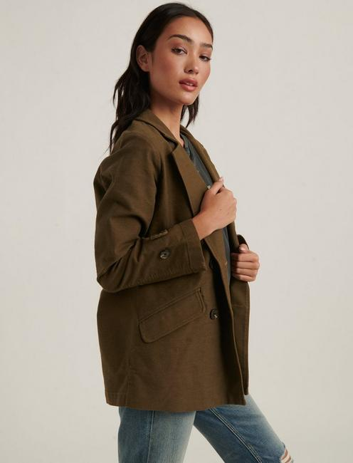 DOUBLE BREASTED UTILITY BLAZER, HUDSON GREEN
