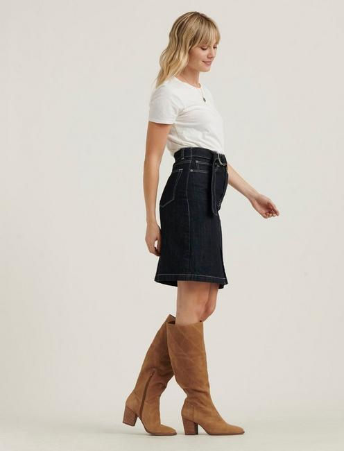 BELTED MINI SKIRT, RINSE