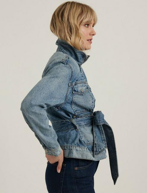 BELTED DENIM JACKET, MOONLIGHT