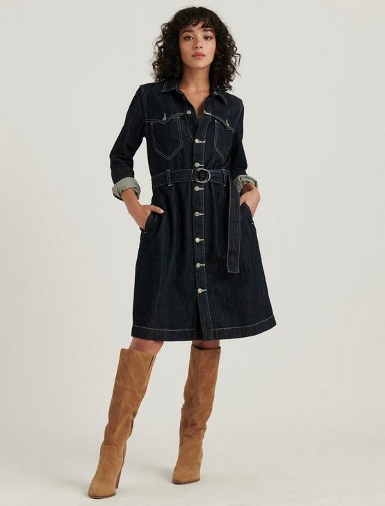 WESTERN DENIM DRESS, RINSE, productTileDesktop