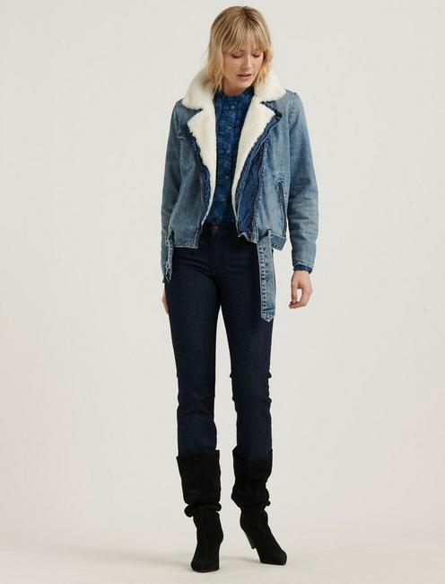 MOTO FUR DENIM JACKET,