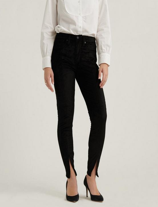 HIGH RISE BRIDGETTE SKINNY VELVET JEAN, 001 LUCKY BLACK, productTileDesktop