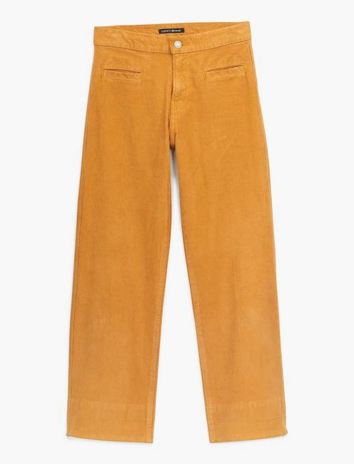 MID RISE CROP WIDE LEG CORDUROY JEAN, GILDED BRONZE