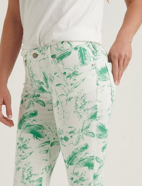 LOW RISE LOLITA CROP JEAN, GREEN FLORAL