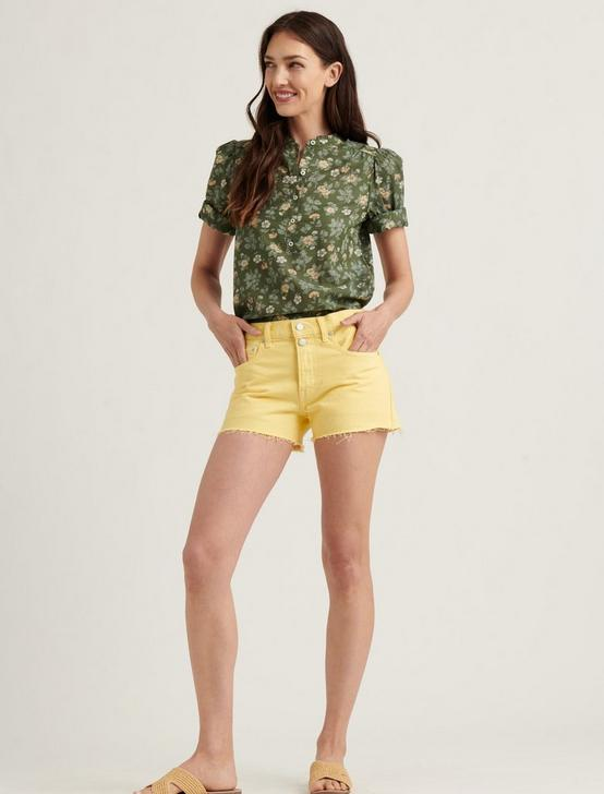 MID RISE CUT OFF JEAN SHORT, MELLOW YELLOW CT, productTileDesktop