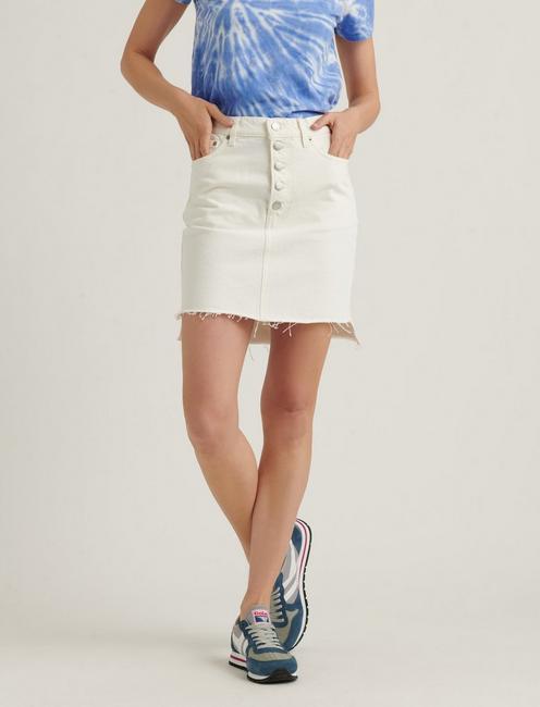 MID RISE MINI SKIRT, CLEAN WHITE-STEP