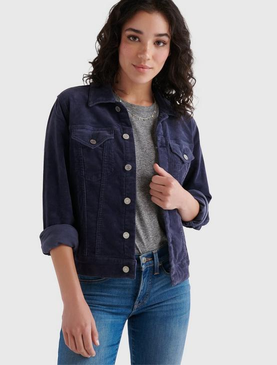 CORDUROY TOMBOY TRUCKER JACKET, AMERICAN NAVY, productTileDesktop
