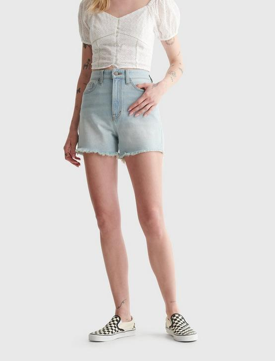 HIGH RISE CUT OFF JEAN SHORT, ARCTIC, productTileDesktop