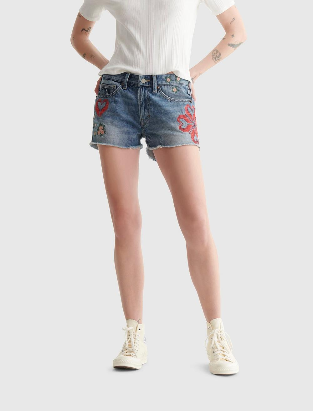 EMBROIDERED MID RISE BOY SHORT, image 2