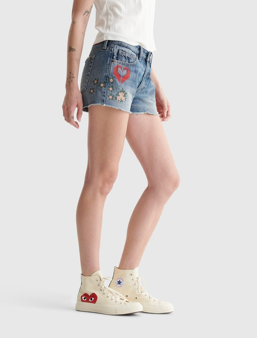 EMBROIDERED MID RISE BOY SHORT, image 3