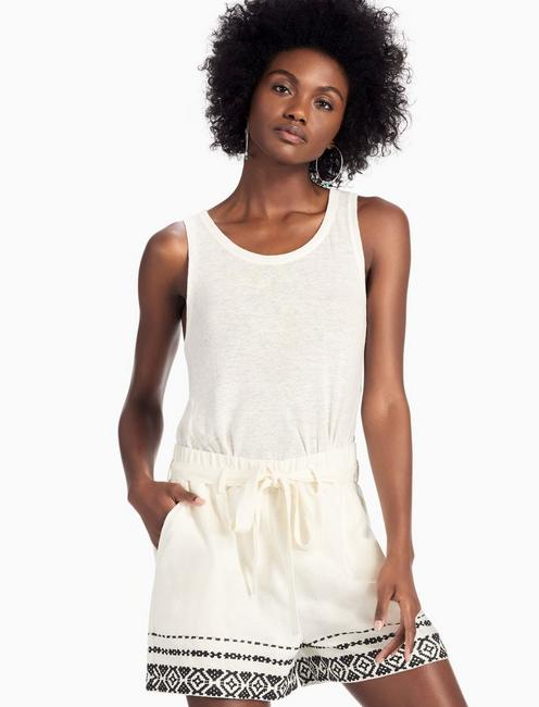 EMBROIDERED TIE FRONT SHORT,