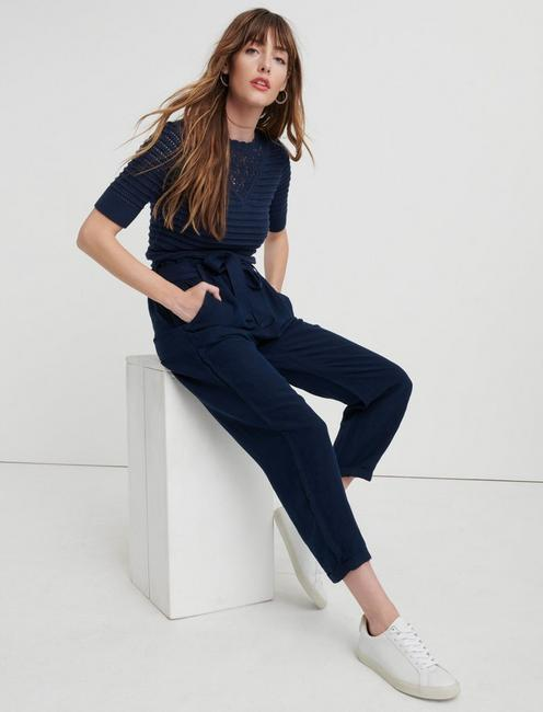 PAPERBAG LINEN PANT, AMERICAN NAVY