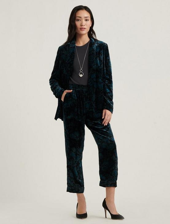 PRINTED VELVET PANT, BLACK MULTI, productTileDesktop