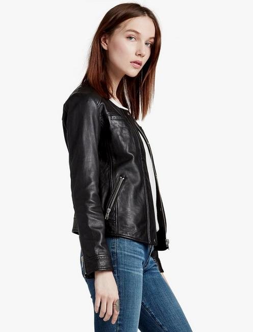COLLARLESS MOTO JACKET,