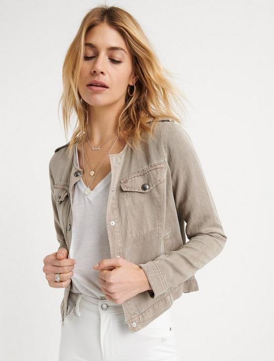 COLLARLESS UTILITY JACKET, COBBLESTONE, productTileDesktop