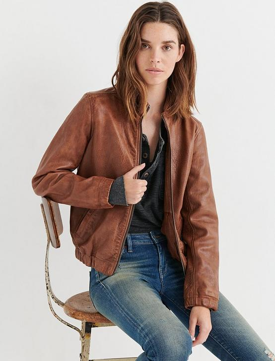 ANA LEATHER JACKET, SADDLE, productTileDesktop