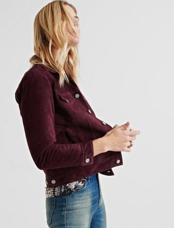 SUEDE TRUCKER JACKET, MERLOT, productTileDesktop