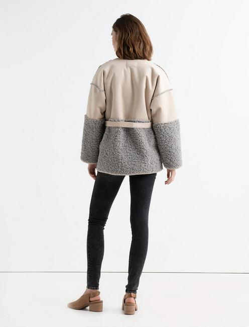 MIXED SHERPA JACKET, GREY MULTI