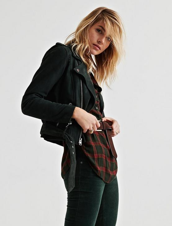 SUEDE MOTO JACKET, DARK GREEN, productTileDesktop