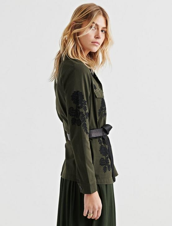 EMBROIDERED UTILITY JACKET, 378 OLIVE, productTileDesktop