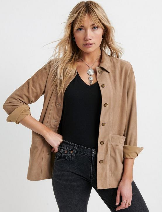 SUEDE CHORE JACKET, TAUPE, productTileDesktop