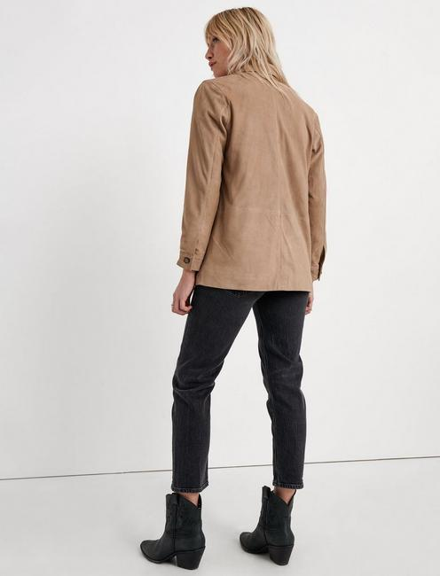 SUEDE CHORE JACKET, TAUPE