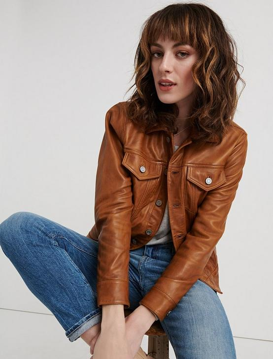 LEATHER TRUCKER JACKET, TAN, productTileDesktop