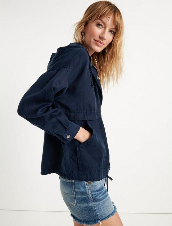 TENCEL LIGHTWEIGHT HOODED JACKET, AMERICAN NAVY, productTileDesktop