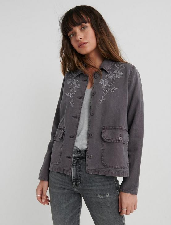 EMBROIDERED UTILITY JACKET, VOLCANIC GLASS, productTileDesktop