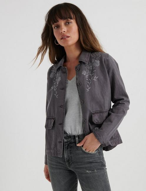 EMBROIDERED UTILITY JACKET, VOLCANIC GLASS