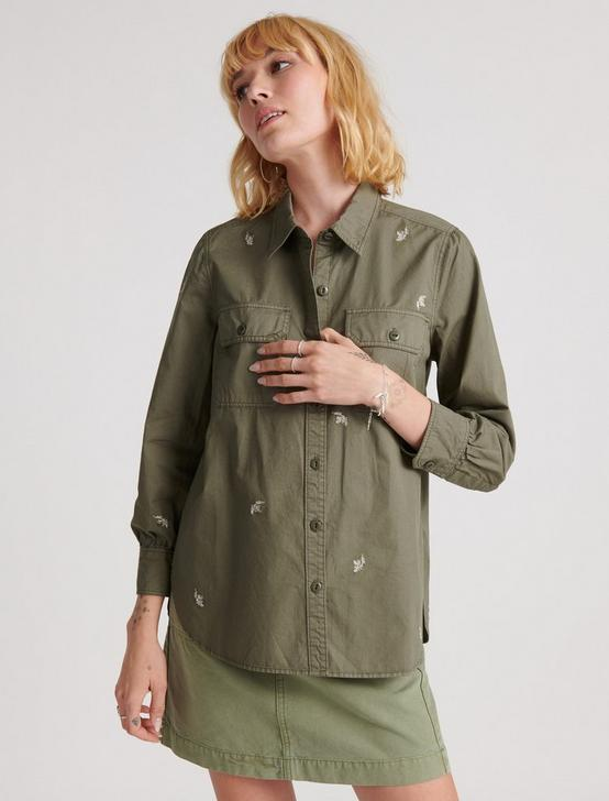 Embroidered Utility Shirt Jacket