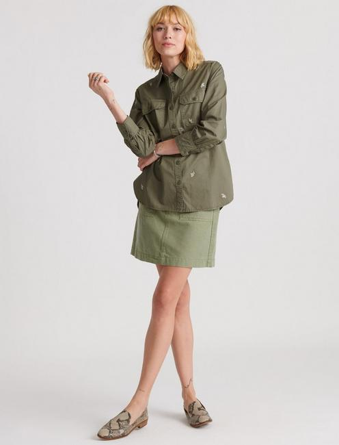 EMBROIDERED UTILITY SHIRT JACKET, WASHED OLIVE