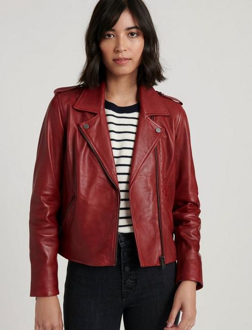 RED MOTO JACKET, RUBARB