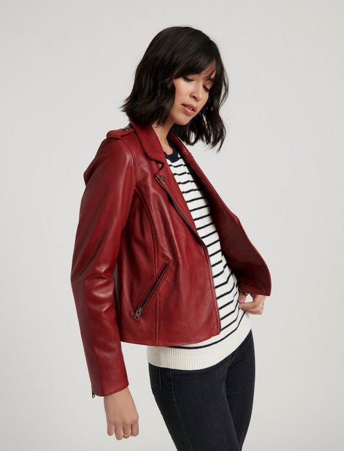 LEATHER MOTO JACKET, RUBARB
