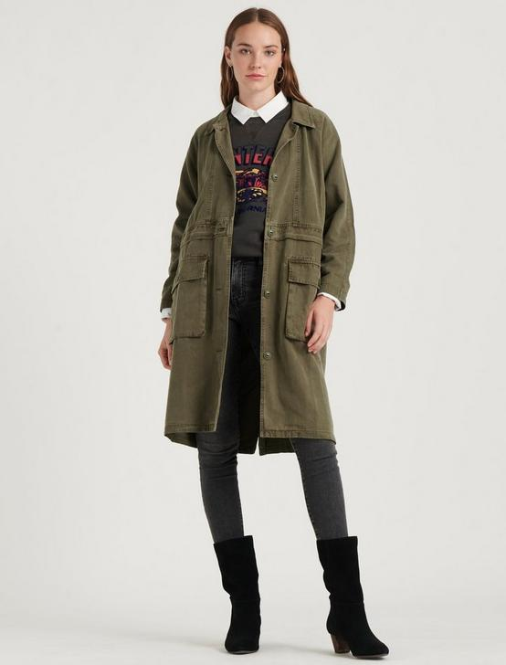 LONG UTILITY JACKET, WASHED DARK OLIVE, productTileDesktop