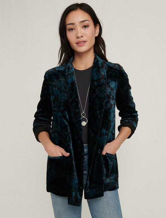 PRINTED VELVET BLAZER, BLACK MULTI, productTileDesktop