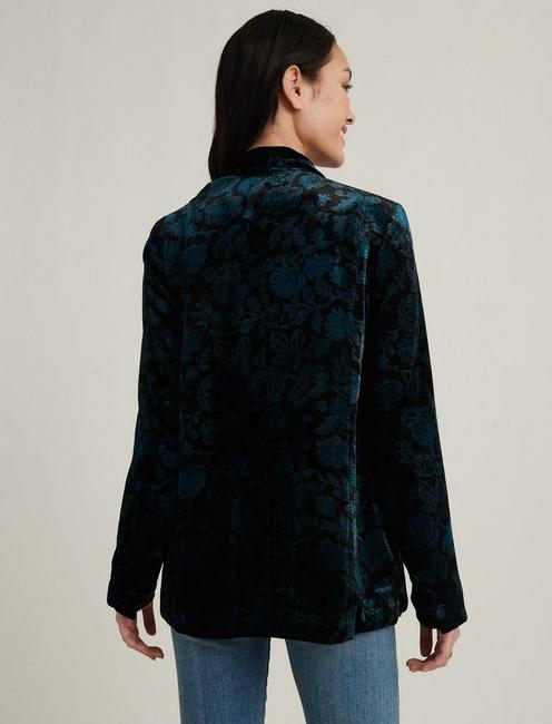 PRINTED VELVET BLAZER, BLACK MULTI