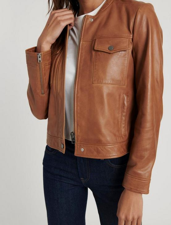 ZIP FRONT LEATHER JACKET, COGNAC, productTileDesktop