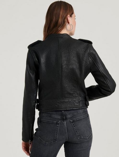 PEBBLE LEATHER MOTO JACKET, 001 LUCKY BLACK