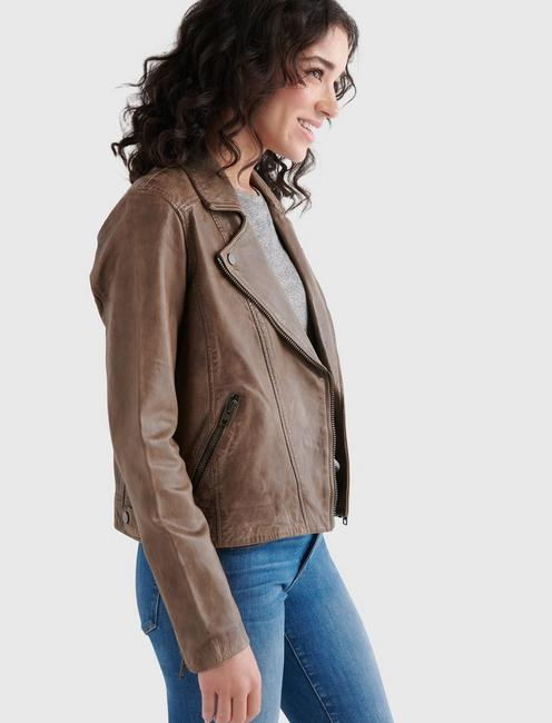 DISTRESSED LEATHER MOTO JACKET, STORM