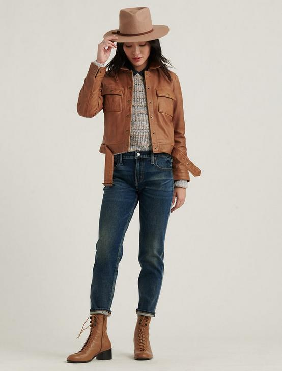 LEATHER UTILITY JACKET, COGNAC, productTileDesktop