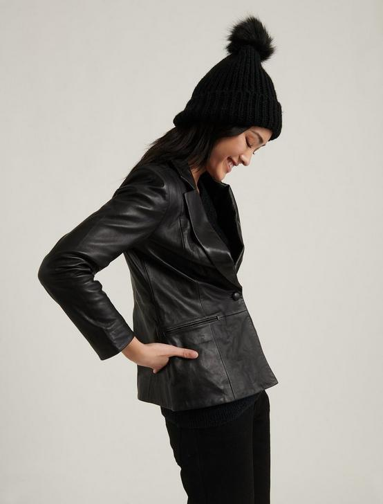 LEATHER BLAZER, 001 LUCKY BLACK, productTileDesktop