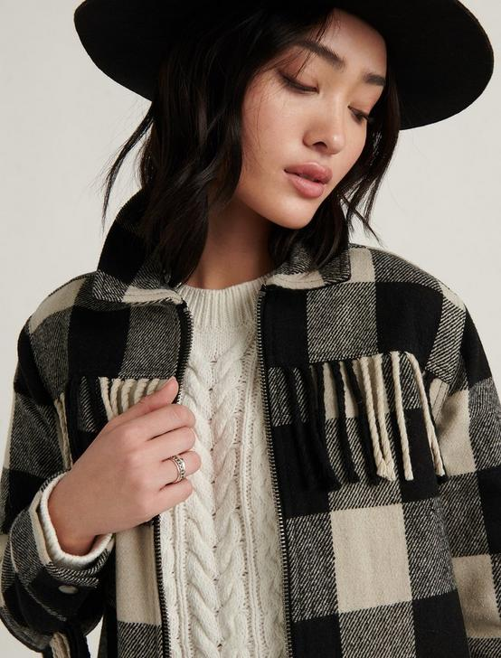 WOOL FRINGE JACKET, LUCKY BLACK MULTI, productTileDesktop