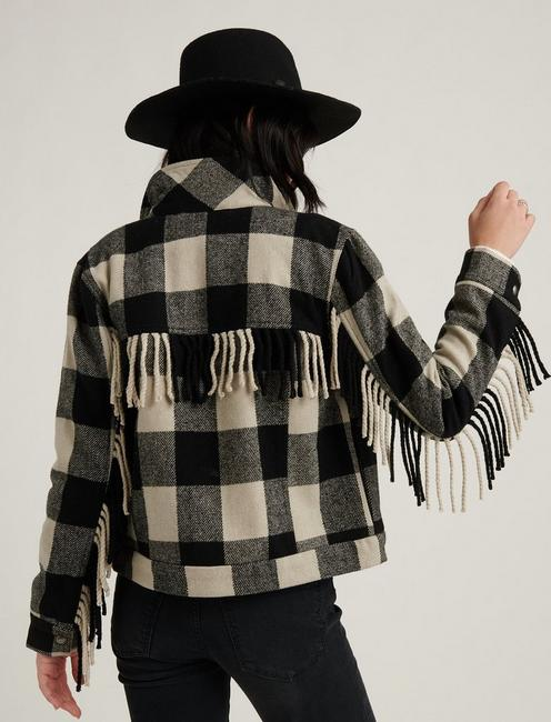 WOOL FRINGE JACKET, LUCKY BLACK MULTI